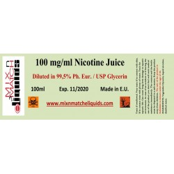100ml Nicotine at 100mg/ml concentration in VG