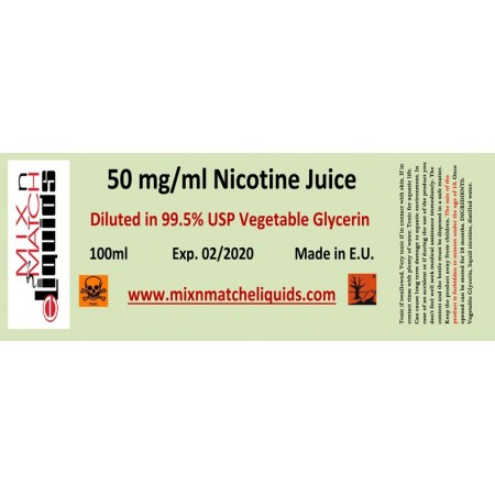 100ml Nicotine at 50 mg/ml concentration in VG