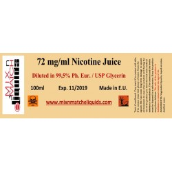 100ml nicotine à 72 mg / concentration ml dans VG