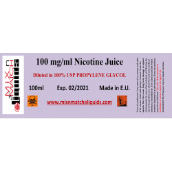 100 ml ved 100 mg / ml nikotin base i PG