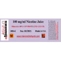 100 ml at 100 mg/ml nicotine base in PG