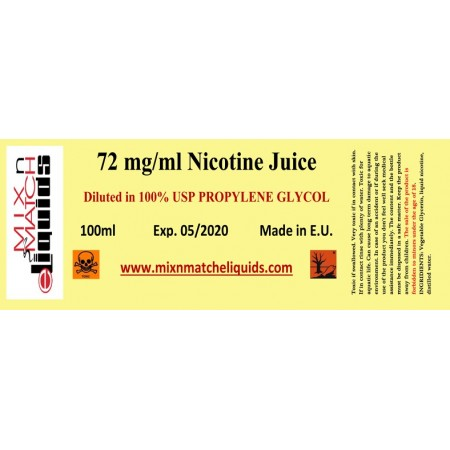 100 ml Nicotine at 72 mg/ml concentration in PG