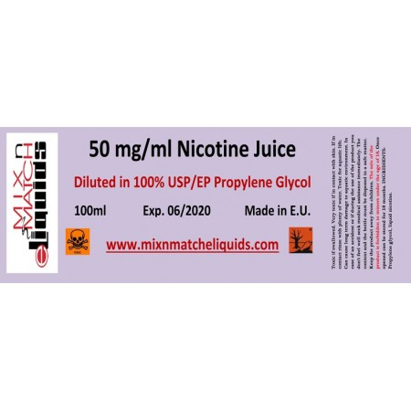 100ml nicotine à 50 mg / concentration ml dans PG